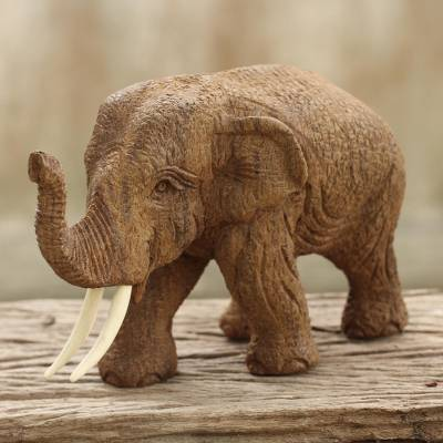 Wood elephant statuette, 'Teak Elephant' - Hand-Carved Teak Wood Elephant Statuette from Thailand
