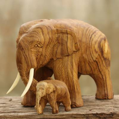 Teak wood elephant statuette, 'Mother and Baby Elephant' - Original Carved Teak Wood Mother and Baby Elephant Sculpture