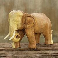Wood elephant statuette, 'Kindly Elephant' - Thai Hand Carved Rain Tree Wood Elephant Statuette