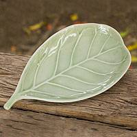 Celadon ceramic plate, 'Jade Fig Leaf' - Handcrafted Leaf-Shaped Green Celadon Plate