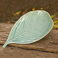 Celadon ceramic plate, 'Blue Fig Leaf' - Thai Handcrafted Blue Celadon Plate in Leaf Shape