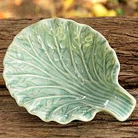 Celadon ceramic plate, 'Blue Lettuce Leaf' - Handcrafted Blue Celadon Ceramic Plate from Thailand