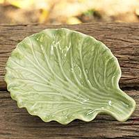 Celadon ceramic plate, 'Lettuce Leaf' - Handcrafted Leaf-Shaped Green Celadon Ceramic Plate