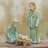 Celadon nativity scene, 'Holy Celebration' (set of 3) - Handcrafted Celadon Ceramic Nativity Figurines (set of 3)