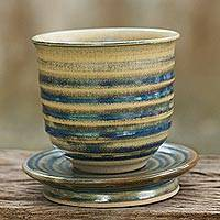Ceramic tea cup and saucer, 'Rising Dawn' - Handmade Thai Pottery Tea Cup and Saucer