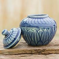 Celadon ceramic jar, 'Blue Lotus' - Thai Blue Floral Celadon Jar and Lid
