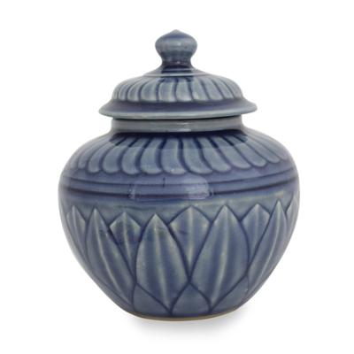 Thai Blue Floral Celadon Jar and Lid