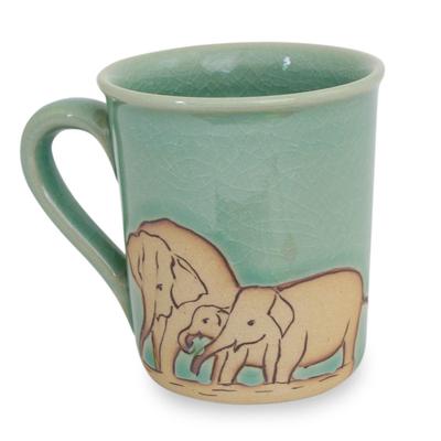 Blue and Brown Elephant Theme Celadon Ceramic Mug