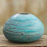 Ceramic bud vase, 'Asian Turquoise' - Handmade Thai Ceramic Bud Vase with Turquoise Glaze