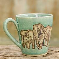 Celadon ceramic mug, 'Cozy Family' - Aqua Celadon Ceramic Mug with Hand Painted Elephants