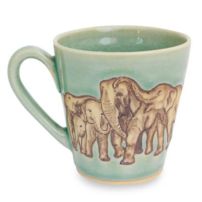 Aqua Celadon Ceramic Mug with Hand Painted Elephants
