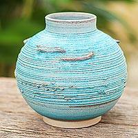 Ceramic vase, 'Asian Aqua' - Aqua Blue Small Ceramic Vase from Thailand