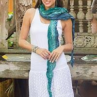 Silk scarf, 'Summer Rain' - Teal Ombre Crinkled All-Silk Scarf from Thailand