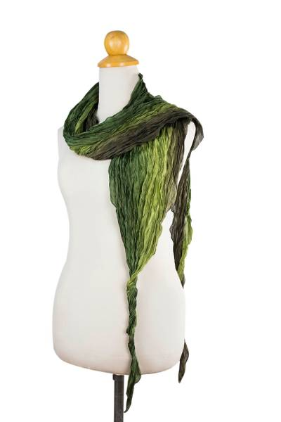 Silk scarf, 'Summer Forest' - Hand Dyed Crinkle Pleated 100% Silk Scarf in Green Shades