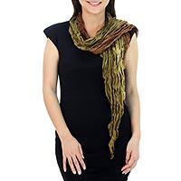Silk scarf, 'Summer Jungle'