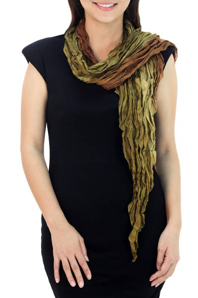 Silk scarf, 'Summer Jungle' - Women's Pleated 100% Silk Scarf in Brown Olive and Ochre