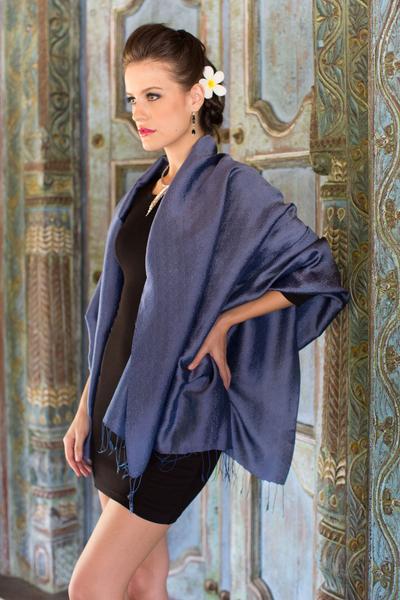 Rayon and silk blend shawl, 'Elegance in Indigo' - Dark Blue Women's Woven Rayon and Silk Blend Shawl