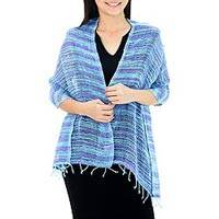 Woven cotton shawl, 'Spring Breeze' - Handmade 100% Cotton Loose Weave Shawl in Blue and Purple