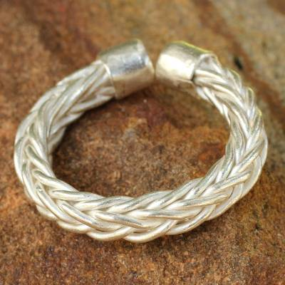 Sterling silver wrap ring, 'Woven Wheat' - Thai Braided Sterling Silver Wrap Ring