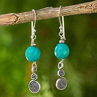 Calcite and silver dangle earrings, 'Mesmerizing Moon' - Handcrafted Dangle Earrings with Blue Calcite and Silver 950