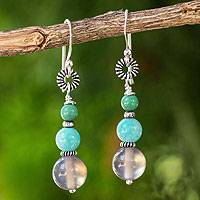 Amazonite dangle earrings, 'Winter Mint' - Amazonite Hand-Beaded Earrings With grey Chalcedony