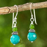 Beaded dangle earrings, 'Mint Julep'
