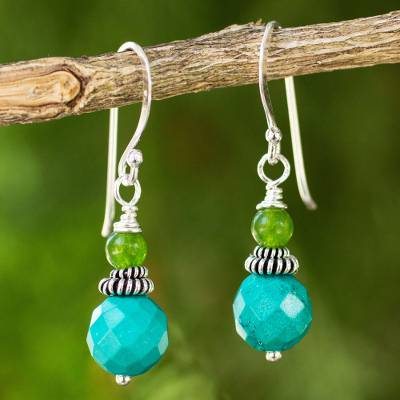 Beaded dangle earrings, 'Mint Julep' - Green and Turquoise Blue Beaded Dangle Earrings