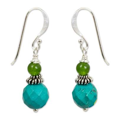 Green and Turquoise Blue Beaded Dangle Earrings