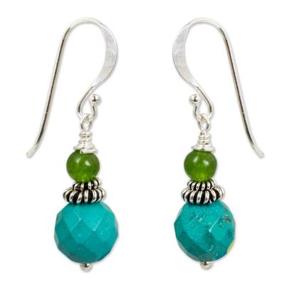 Beaded dangle earrings, 'Mint Julep' - Green and Turquoise Blue Beaded Dangle Earrings