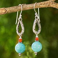 Amazonite and carnelian dangle earrings, 'Lucky Mint' - Handmade Amazonite and Carnelian Earrings from Thailand