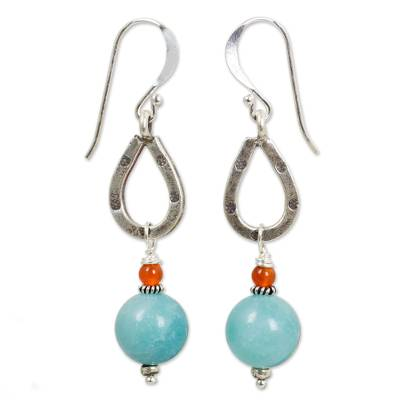 Handmade Amazonite and Carnelian Earrings from Thailand