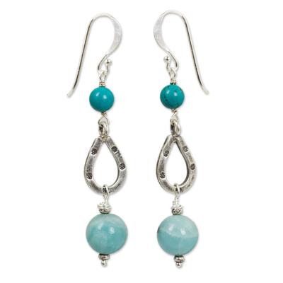 Genuine Amazonite and Silver 950 Beaded Dangle Earrings