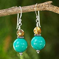 Beaded dangle earrings, 'Blue Honey' - Handmade Calcite and Jasper Dangle Earrings from Thailand