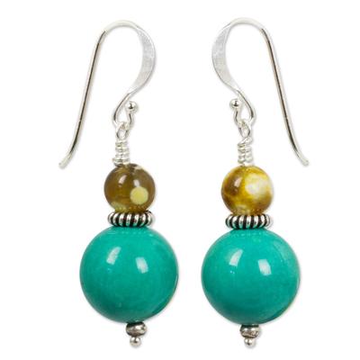 Beaded dangle earrings, 'Blue Honey' - Handmade Calcite and Jasper Dangle Earrings from Thailand