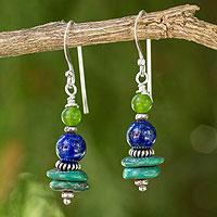 Lapis lazuli dangle earrings, 'Blue Earth' - Handmade Dangle Earrings with Lapis Lazuli and Quartz Beads