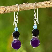 Amethyst and onyx dangle earrings, 'Sweet Plum' - Thai Artisan Crafted Amethyst and Onyx Bead Earrings
