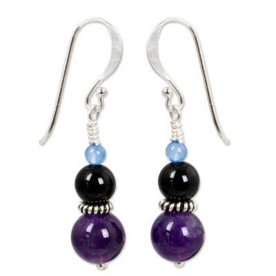 Amethyst and onyx dangle earrings, 'Sweet Plum' - Thai Artisan Crafted Amethyst and Onyx Bead Earrings