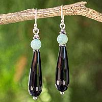 Onyx and aventurine dangle earrings, 'Midnight Dewdrop' - Handcrafted Onyx and Green Aventurine Beaded Earrings