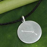 White topaz pendant necklace, 'Constellation: Aries' - White Topaz and Sterling Silver Aries Sign Zodiac Necklace