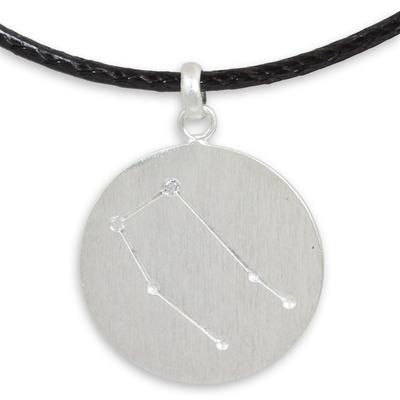 Gemini Zodiac Pendant Necklace in Sterling Silver and Topaz