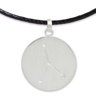 Sterling Silver Zodiac Cancer Necklace with White Topaz