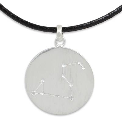 Leo Sign Zodiac Necklace in Silver with White Topaz