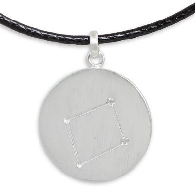Sterling Silver and White Topaz Libra Zodiac Sign Necklace