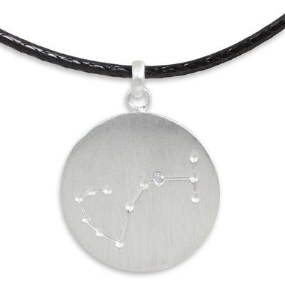 White topaz pendant necklace, 'Constellation: Scorpio' - Silver Pendant Necklace of Scorpio with White Topaz Stone