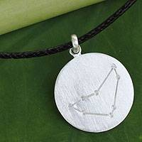 White topaz pendant necklace, 'Constellation: Capricorn' - Capricorn Sign White Topaz and Silver Pendant Necklace