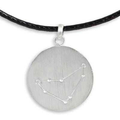Capricorn Sign White Topaz and Silver Pendant Necklace