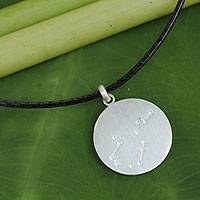 White topaz pendant necklace, 'Constellation: Aquarius' - Brushed Sterling Silver and White Topaz Aquarius Necklace