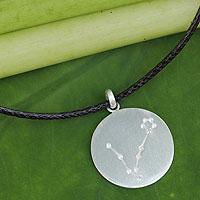 White topaz pendant necklace, 'Constellation: Pisces' - White Topaz Silver Necklace with Pisces Zodiac Sign