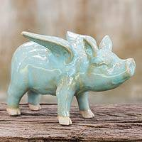 Celadon ceramic figurine, 'Flying Blue Pig' - Original Handcrafted Ceramic Pig with Wings