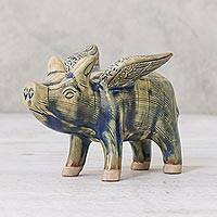 Celadon ceramic figurine, 'Flying Pig' - Fair Trade Ceramic Pig Statuette
